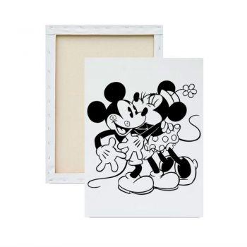 Tela para Pintura Infantil Desenhado - Mickey e Minnie